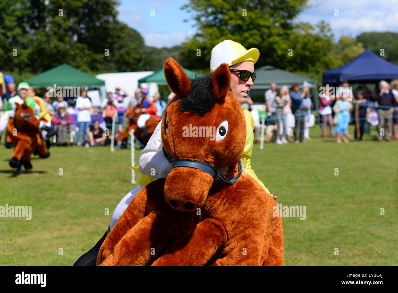 Hampshire, UK. 25th July, 2015. A leading competitor takes a corner in a Damerham Derby 'horse' race at - Stock Image