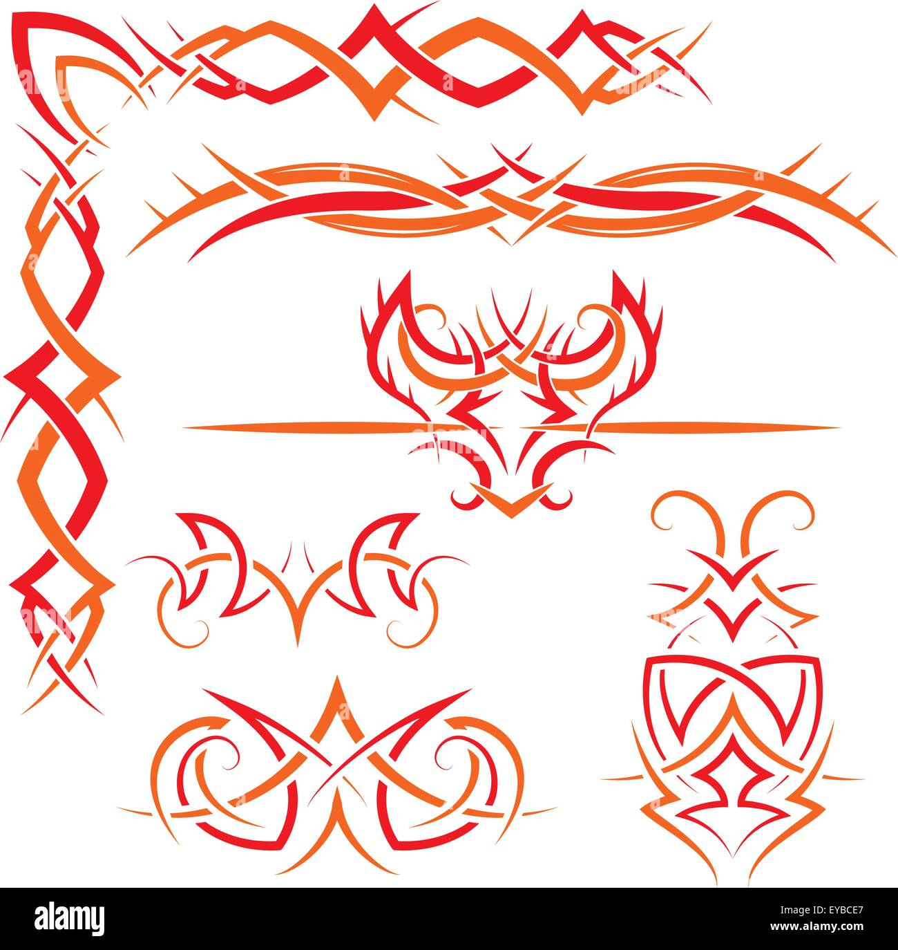 Vector Set Of Gothic Patterns For Design Red And Orange