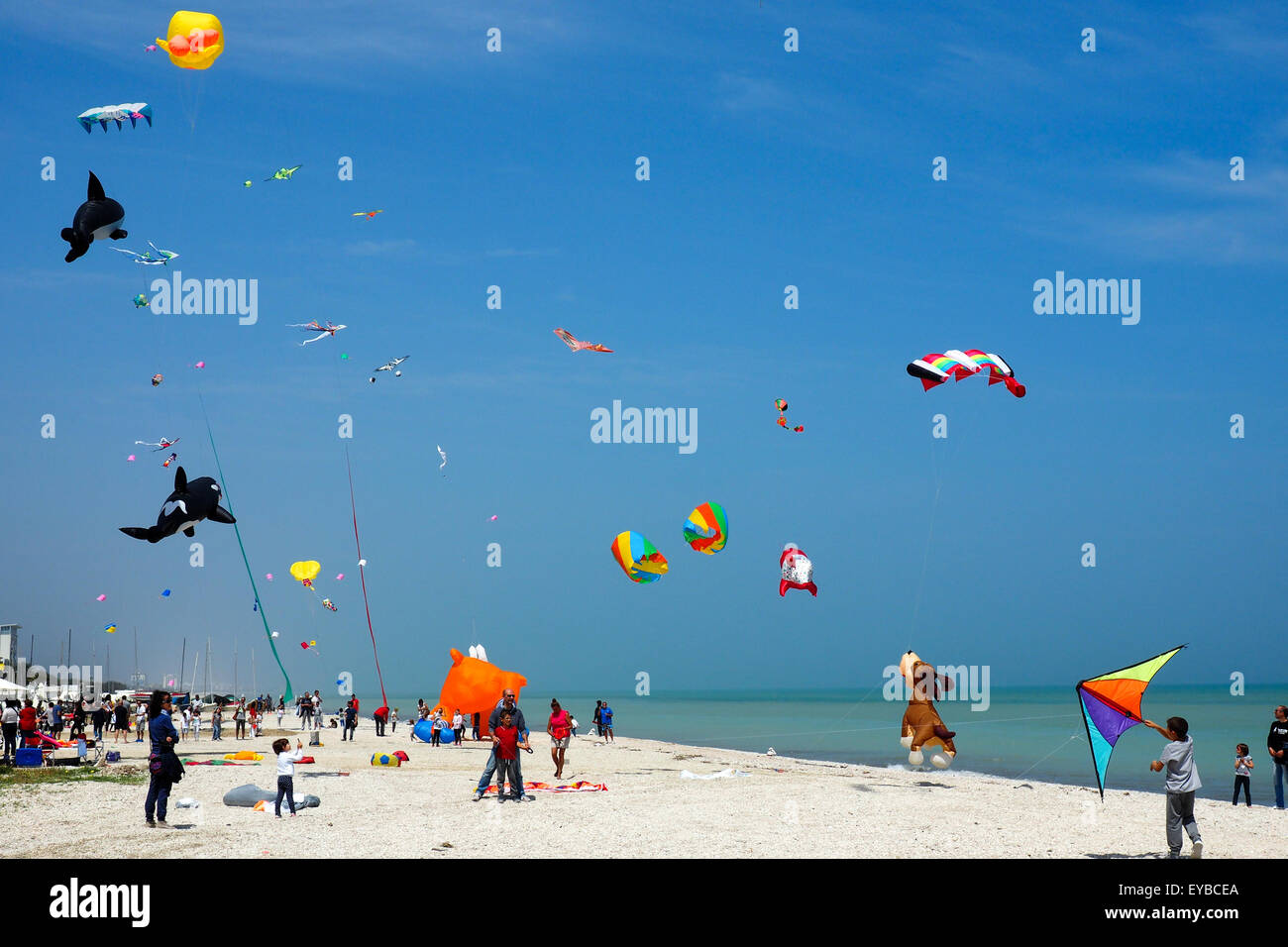 Colourful and animal shaped kites flying over a beach. - Stock Image