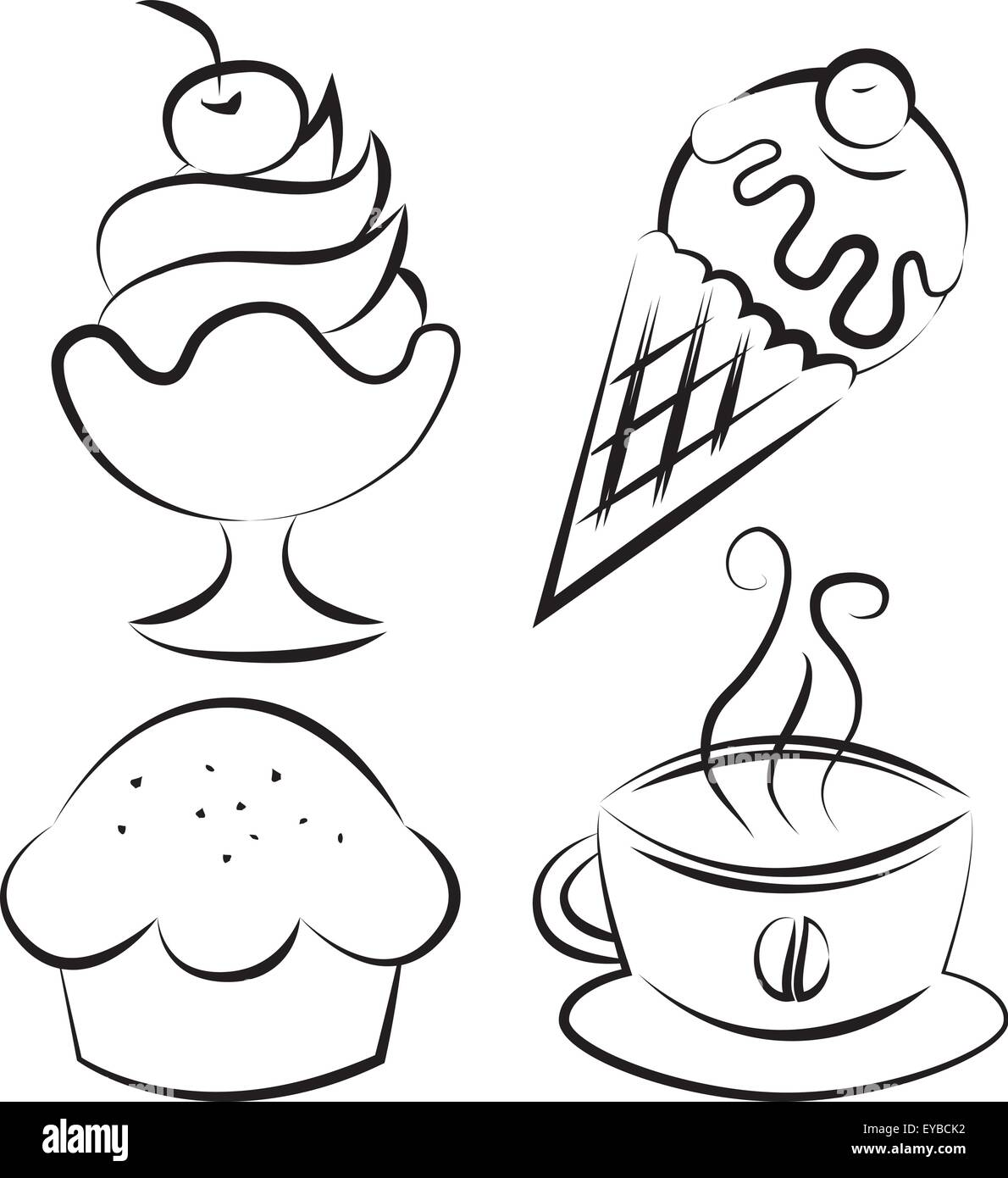 Set of four items. Desserts and coffee. Vector illustration - Stock Image