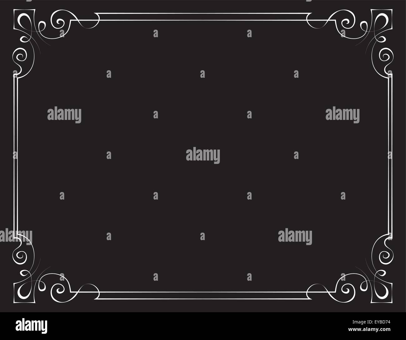 Vector vintage frame with patterned angles on a black background - Stock Image