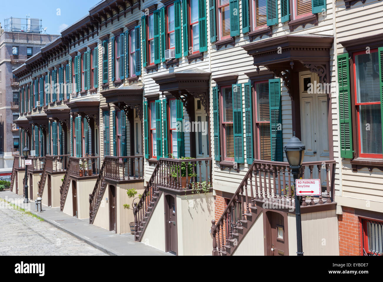 The historic Sylvan Terrace rowhouses in the Jumel Terrace Historic District in Washington Heights, Manhattan, New - Stock Image