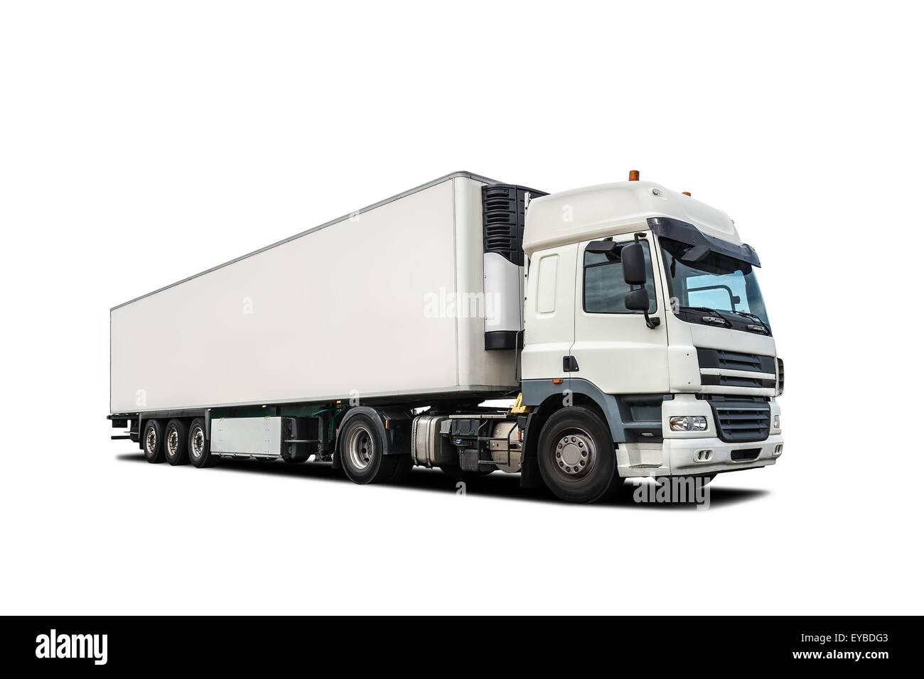 white heavy truck isolated - Stock Image