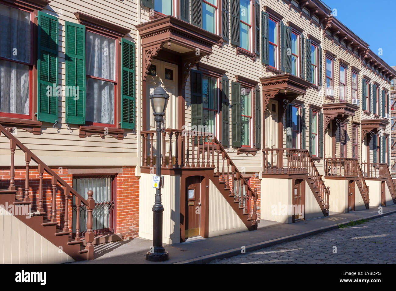The historic Sylvan Terrace rowhouses in the Jumel Terrace Historic District in Washington Heights in New York City. - Stock Image