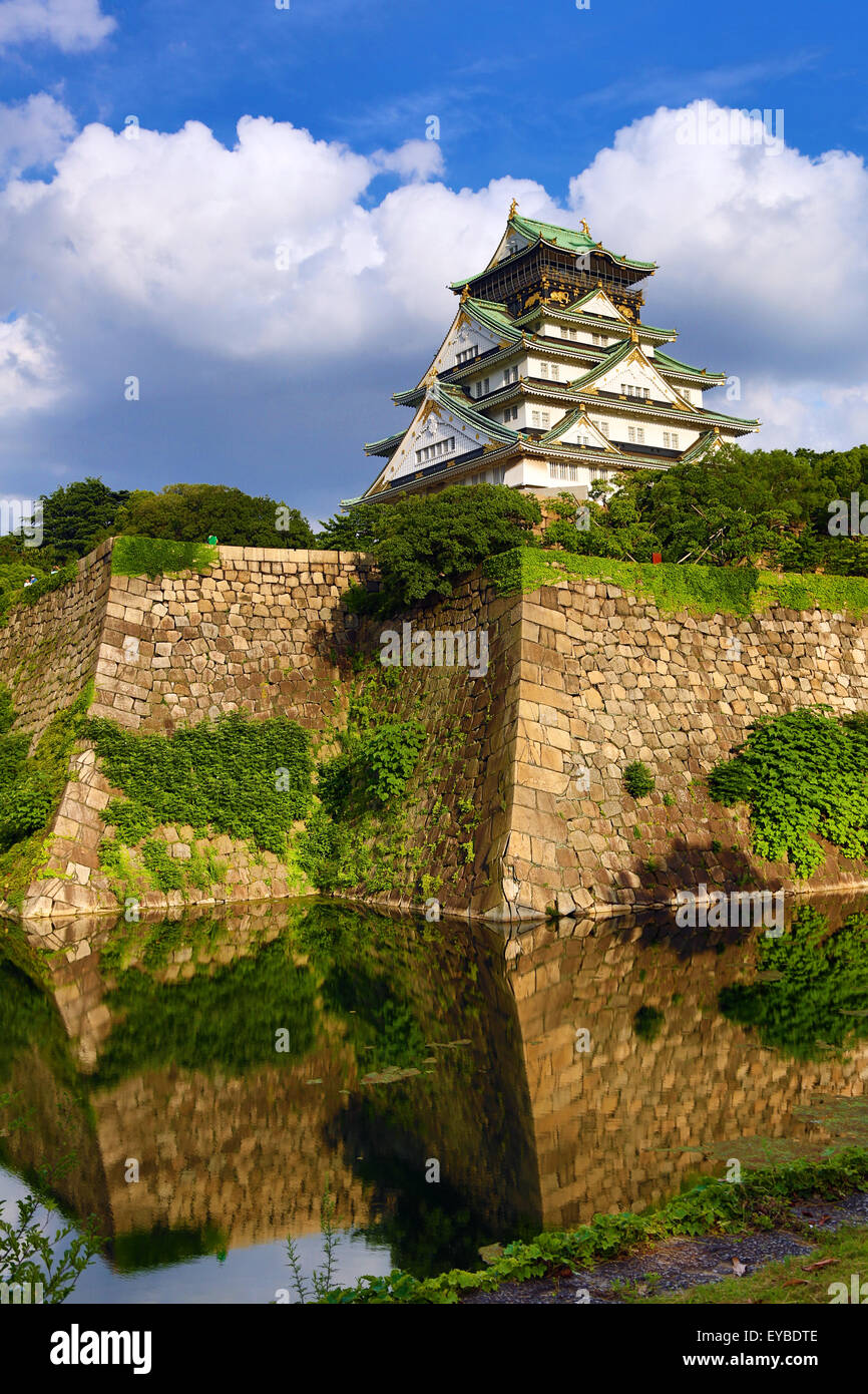 Osaka Castle and ramparts, Osaka, Japan Stock Photo