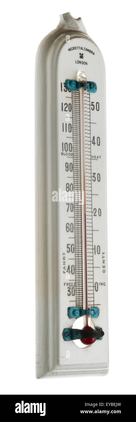 Negretti & Zambra thermometer. China temperature gauge. Antique scientific measuring instrument. - Stock Image