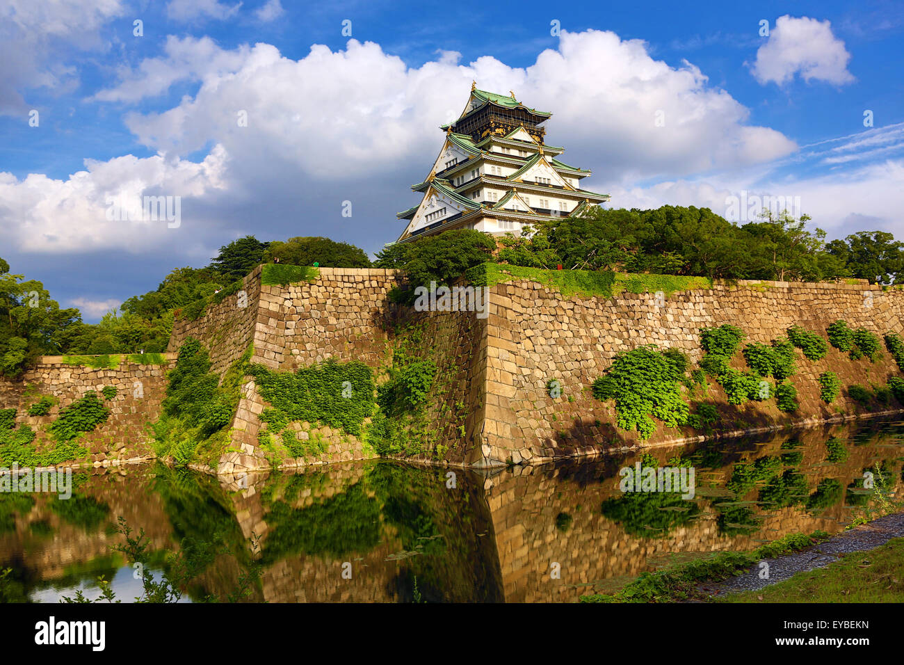 Osaka Castle and ramparts, Osaka, Japan - Stock Image