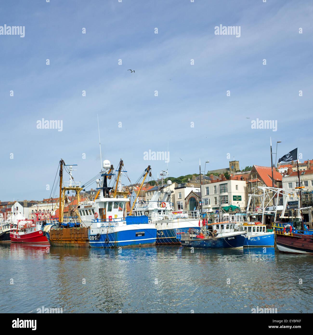 Inshore fishing boats, Scarborough North Yorkshire UK Stock Photo