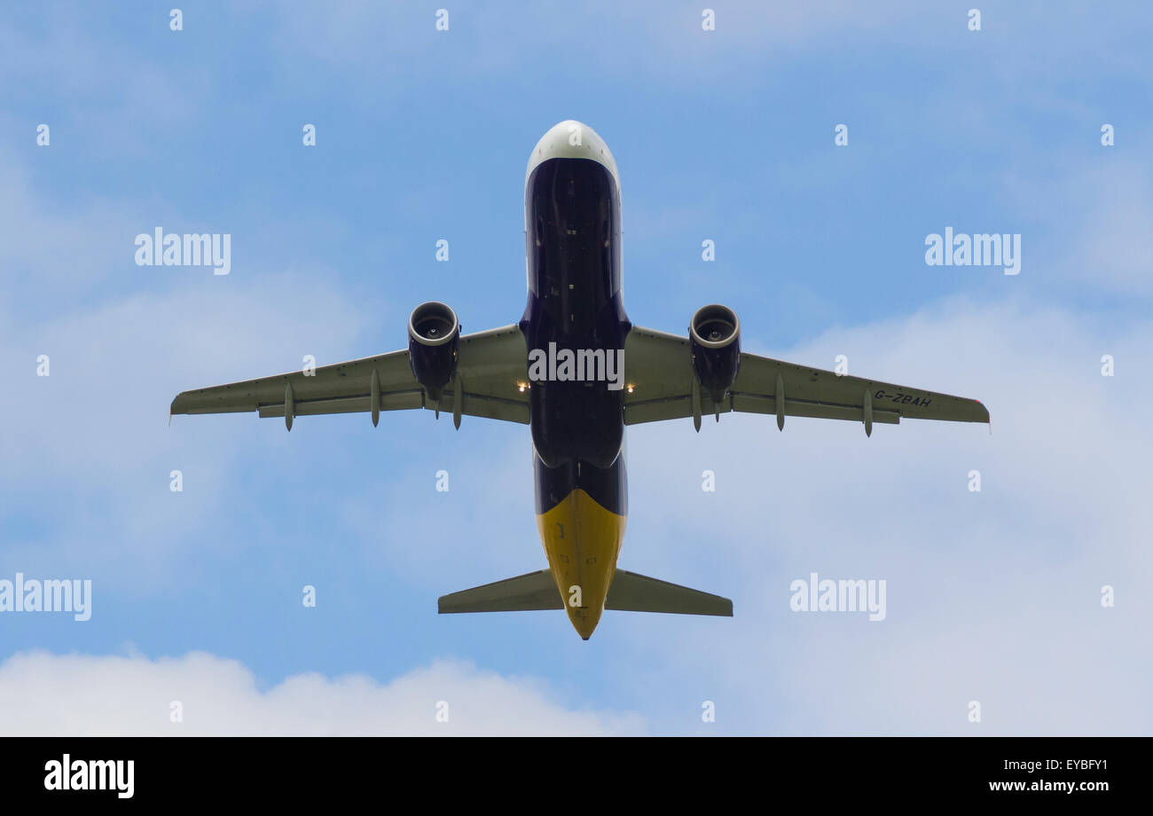 Monarch Airlines Airbus A320-214 Plane taking off from Manchester Airport G-ZBAH - Stock Image