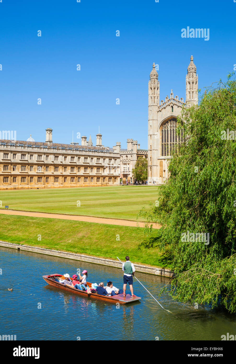 Tourist Punting tour on the River Cam with Kings college and Clare college Cambridge Cambridgeshire England UK GB - Stock Image