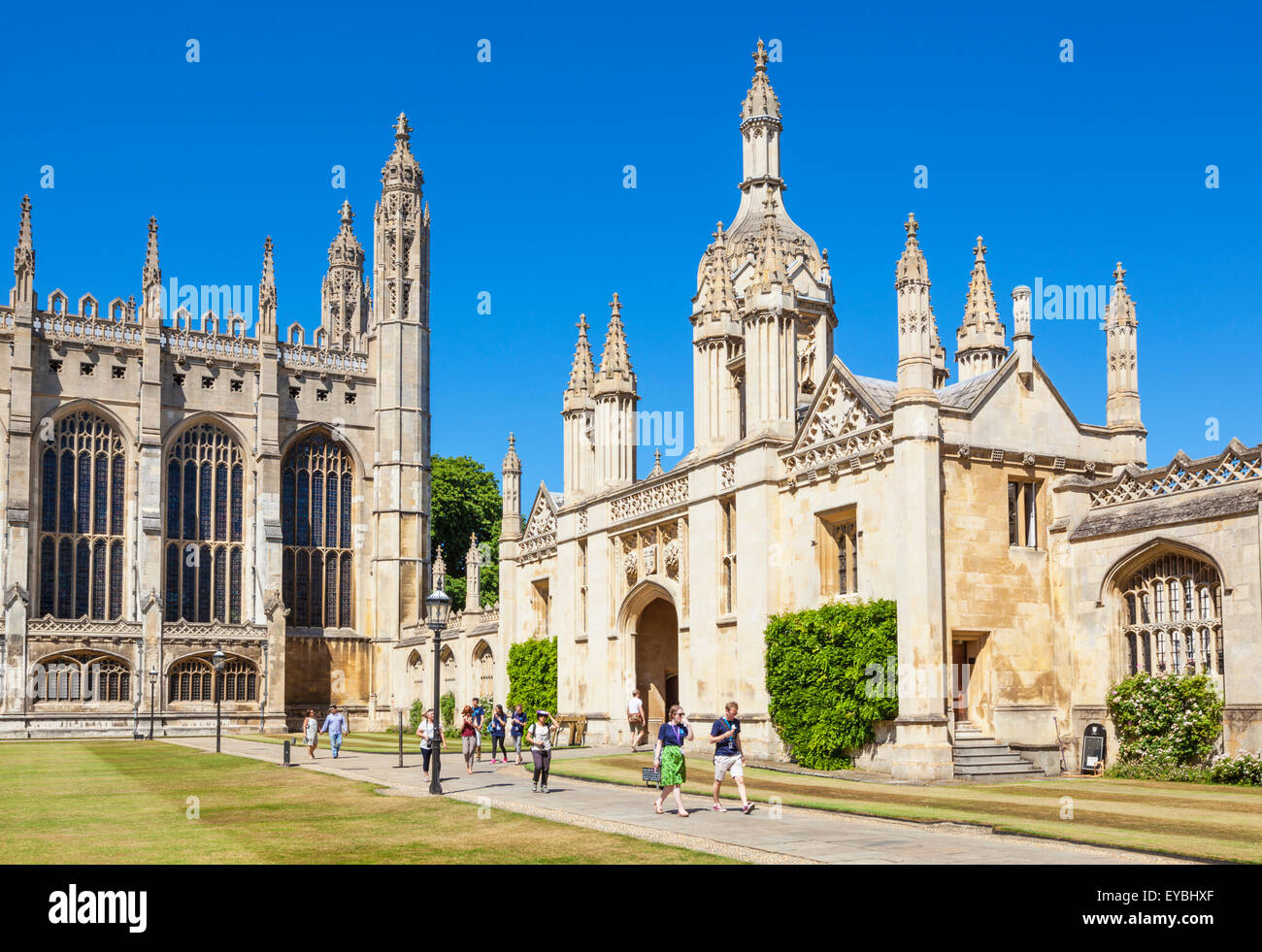 Front court and porters lodge Kings College Cambridge University Cambridgeshire England UK GB Europe - Stock Image