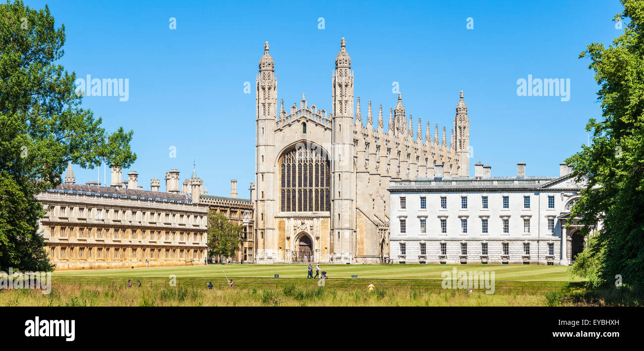 Kings College Chapel, Clare college and Gibbs Building from the Backs Cambridge University Cambridgeshire England - Stock Image