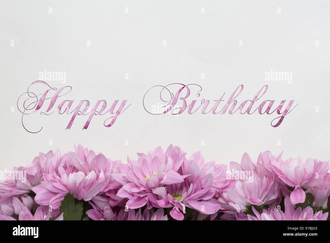 Happy Birthday Greeting Card With Flowers And Beautiful Handwriting