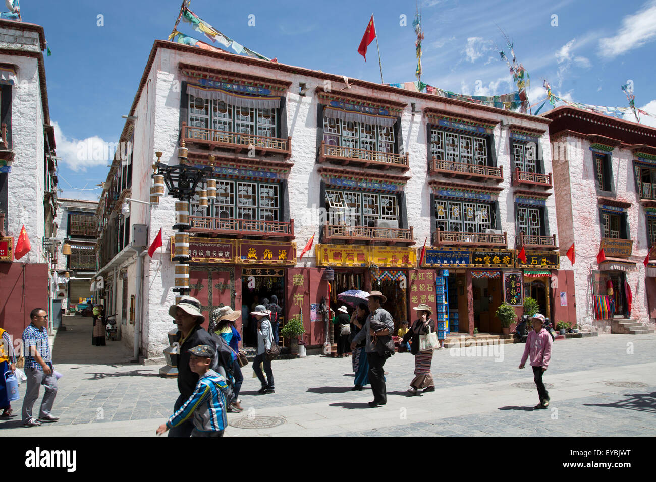 A building in Lhasa old town on a sunny day. - Stock Image