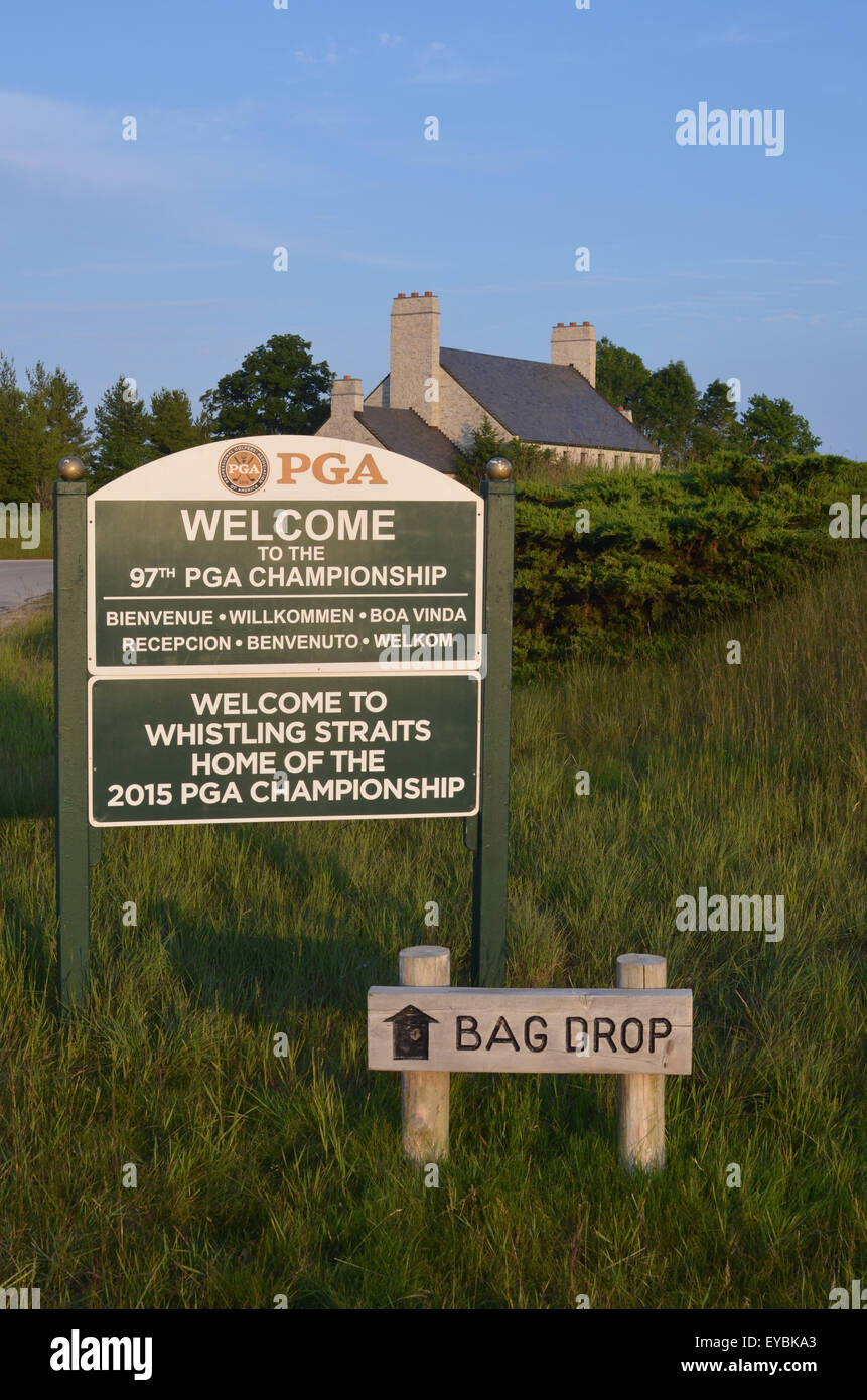 Whistling Straits Golf Course in Kohler, WI is the site of the 2015 PGA Championship - Stock Image