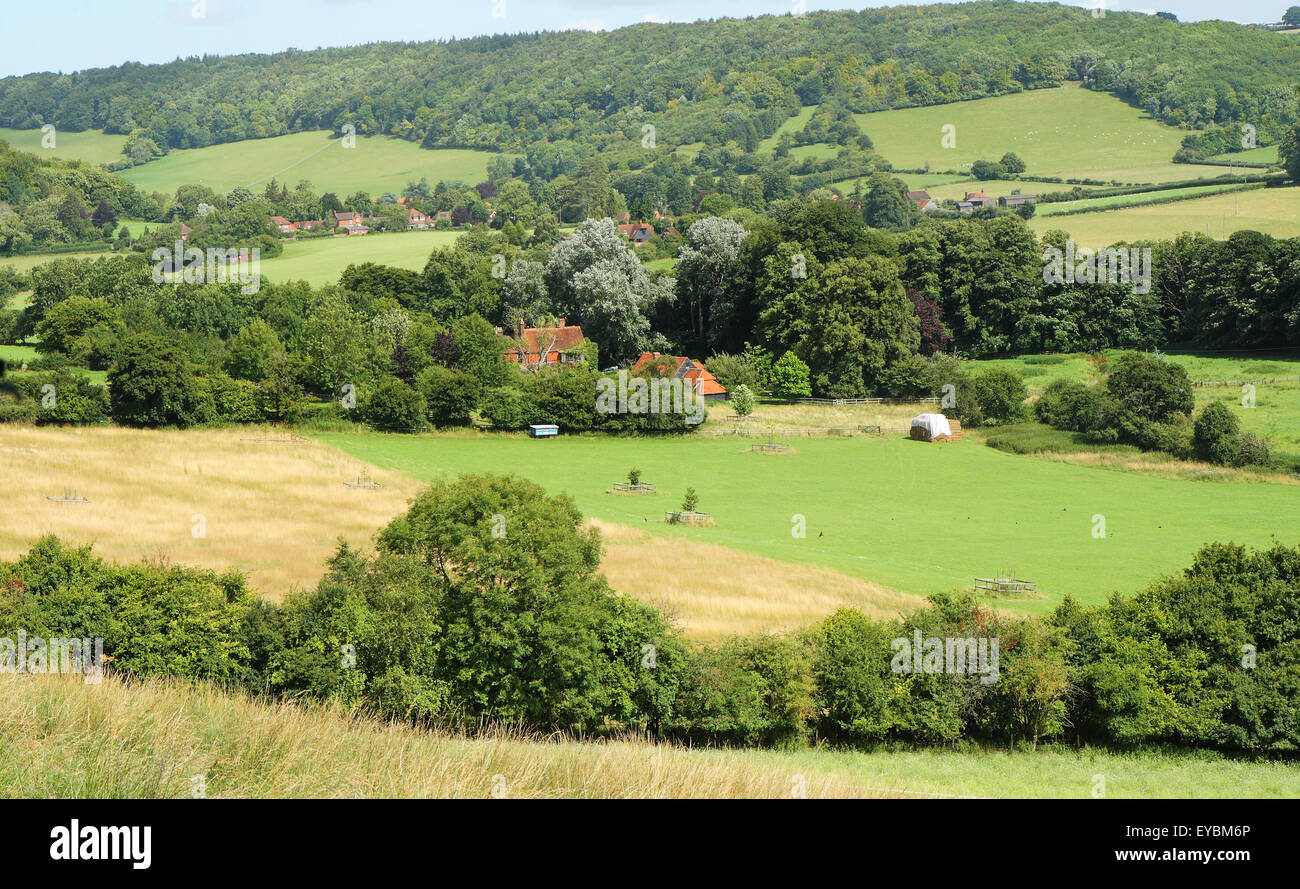 An English Rural Landscape in the Chiltern Hills in the Hambleden valley - Stock Image