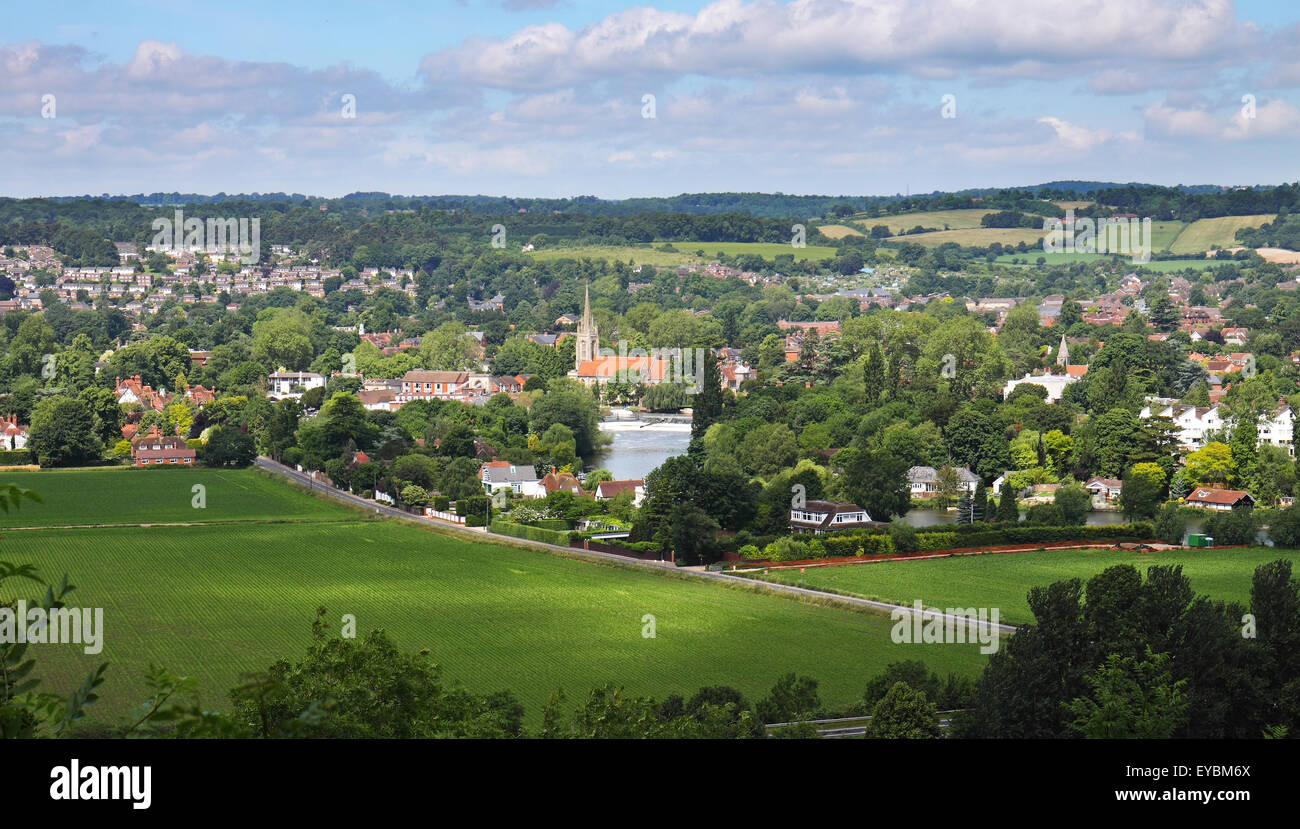 An English Landscape with the riverside of town of Marlow on Thames - Stock Image