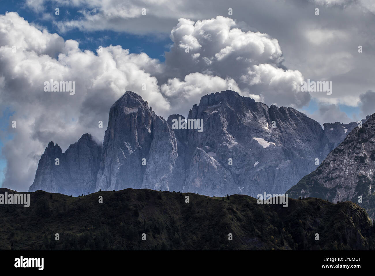 The Agner massif with Mt.Lastei d'Agner.  The Pale di San Martino mountain range.  The Dolomites. Stock Photo
