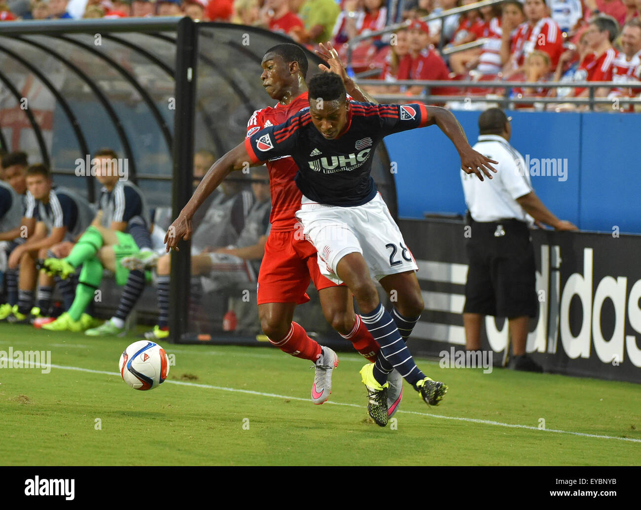 JUL 4 2015:.FC Dallas forward Fabian Castillo (11) fights for the ball as .New England London Woodberry defends - Stock Image