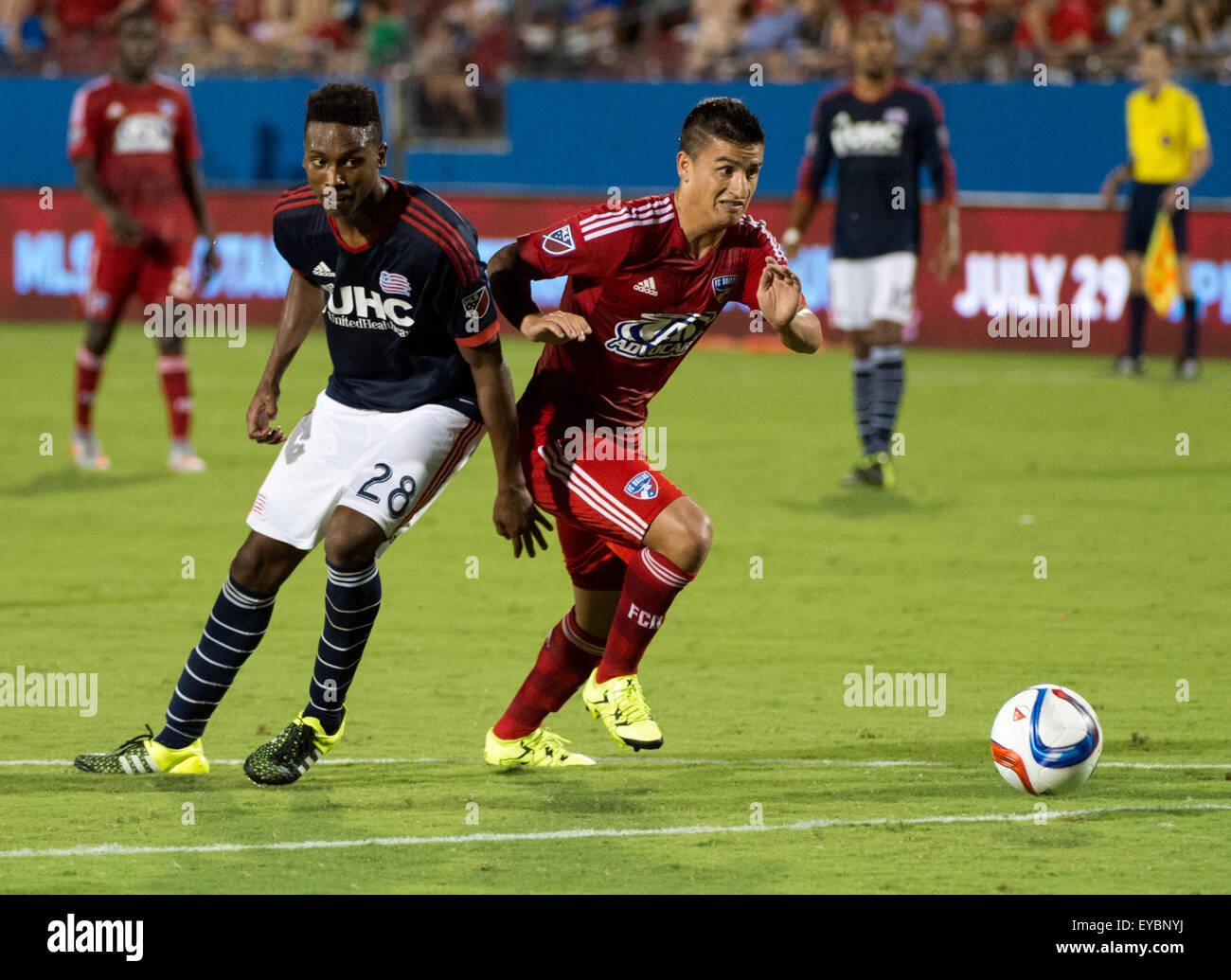 JUL 4 2015:.FC Dallas midfielder Mauro Diaz (10) races to the ball as New England London Woodberry (28) defends.during - Stock Image