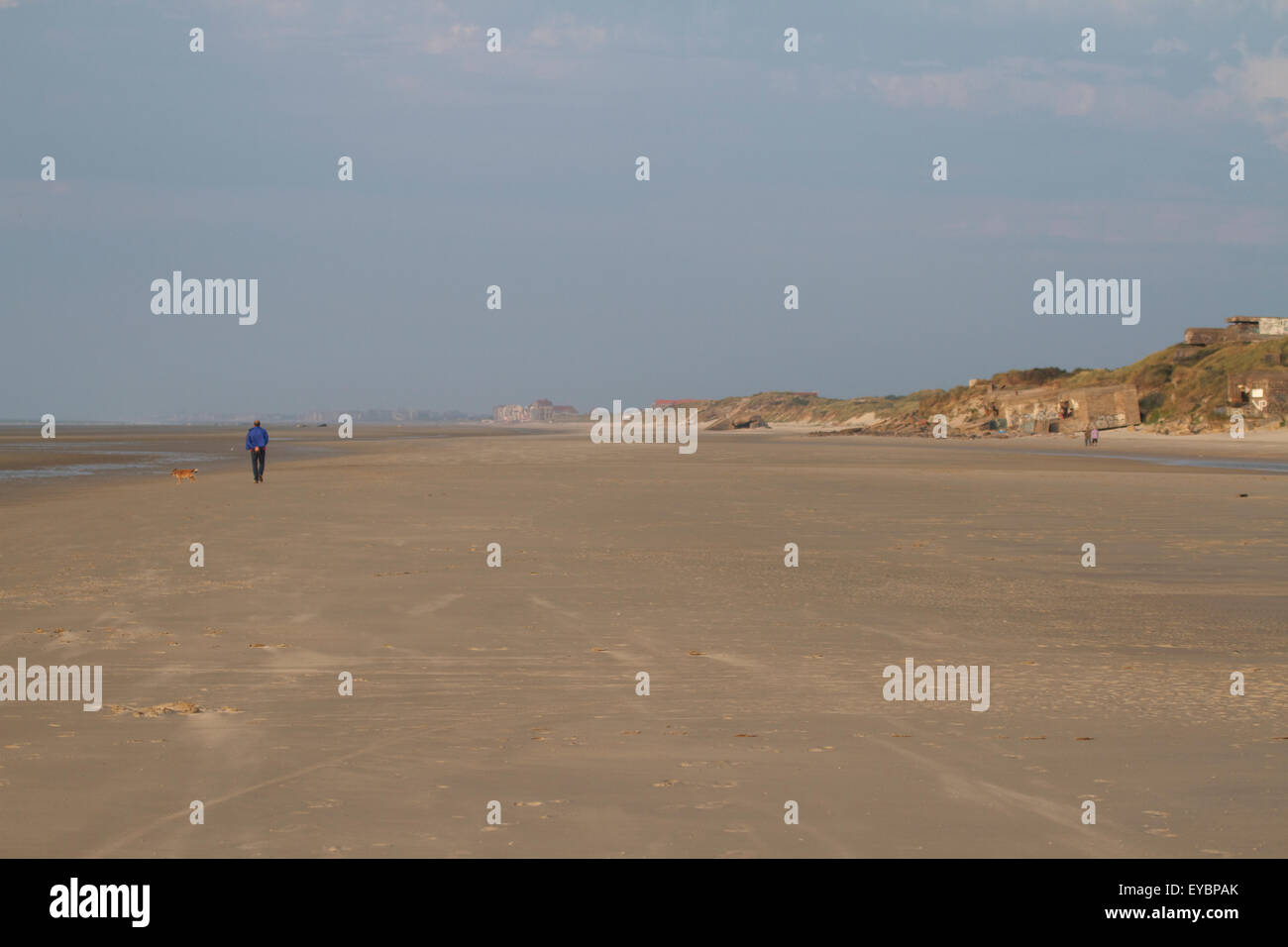 Beach at Dunkirk at low tide. France - Stock Image