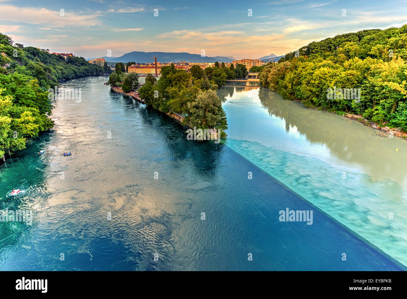 Rhone and Arve river confluence by sunset, Geneva, Switzerland, HDR - Stock Image