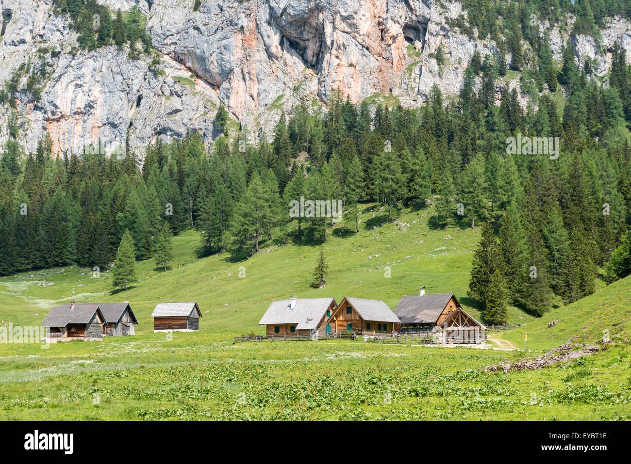 Alpine Cabins, Wurzeralm, Austria Stock Photo