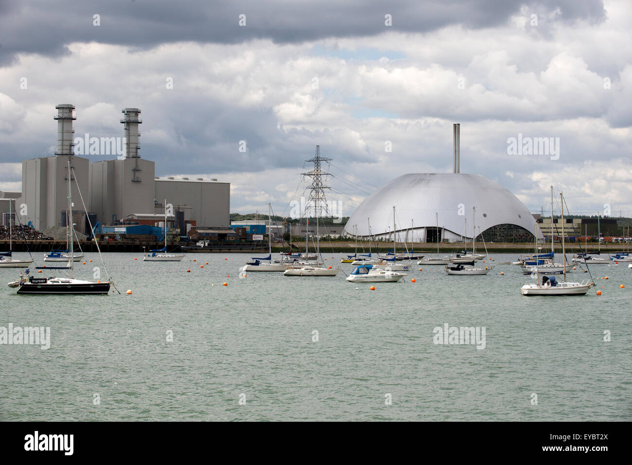 Marchwood Power Station and Energy Recovery Facility a dome shape building on Southampton Water England UK Stock Photo