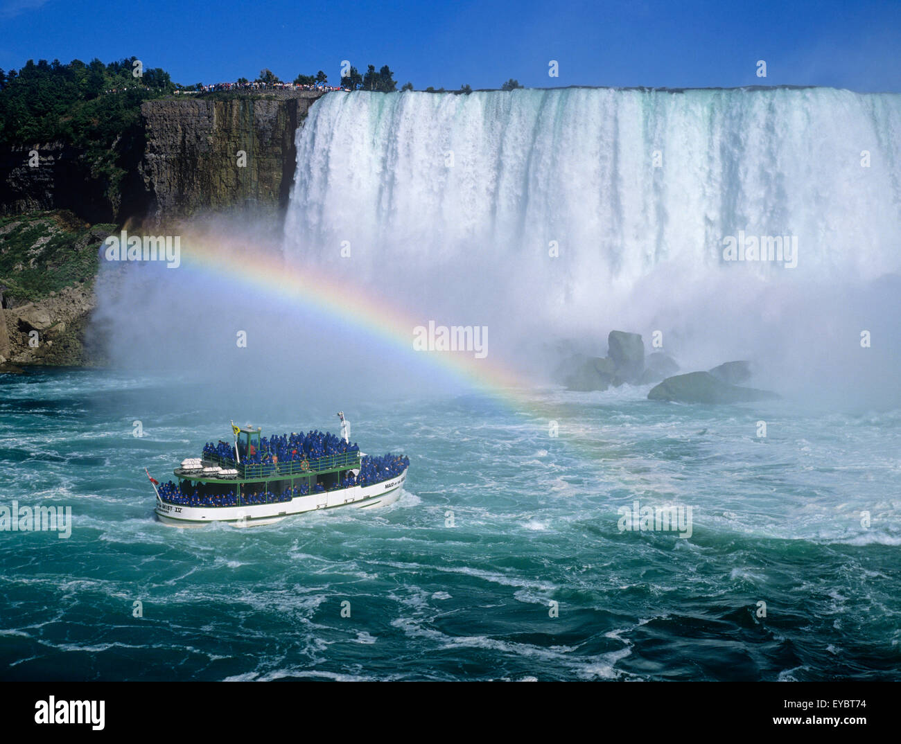 North America Canada Ontario Niagara Falls Horseshoe Falls Maid Of The Mist tour boat - Stock Image
