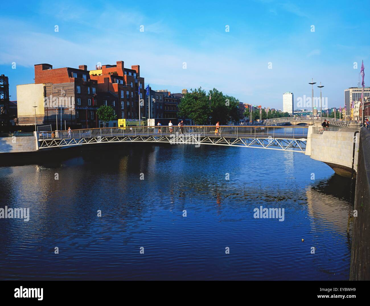 Millennium Bridge, Dublin, Co Dublin, Ireland; 20Th Century Bridge - Stock Image