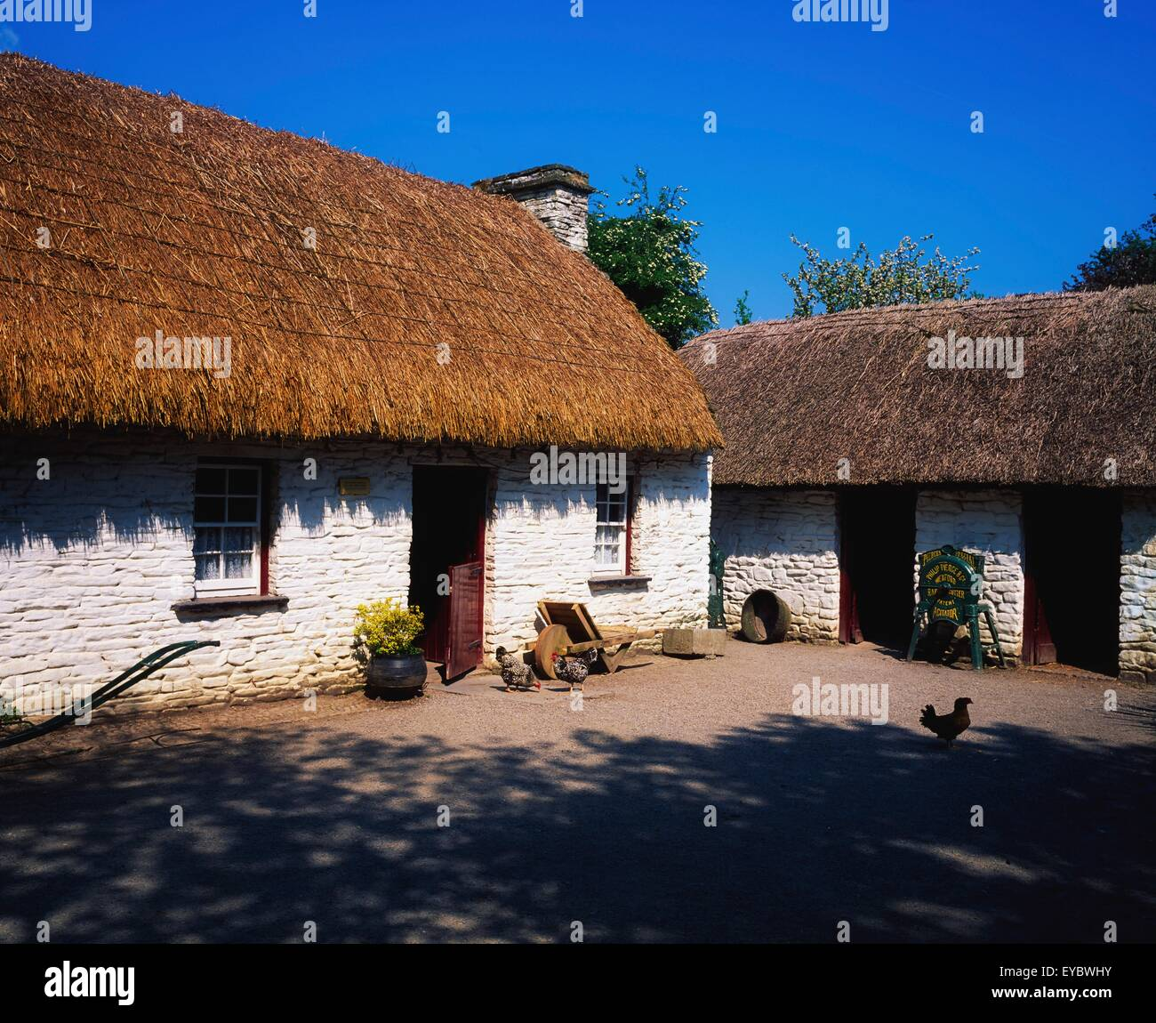 Bunratty Folk Park, Bunratty, Co Clare, Ireland; Cottages At A Folk Park Stock Photo