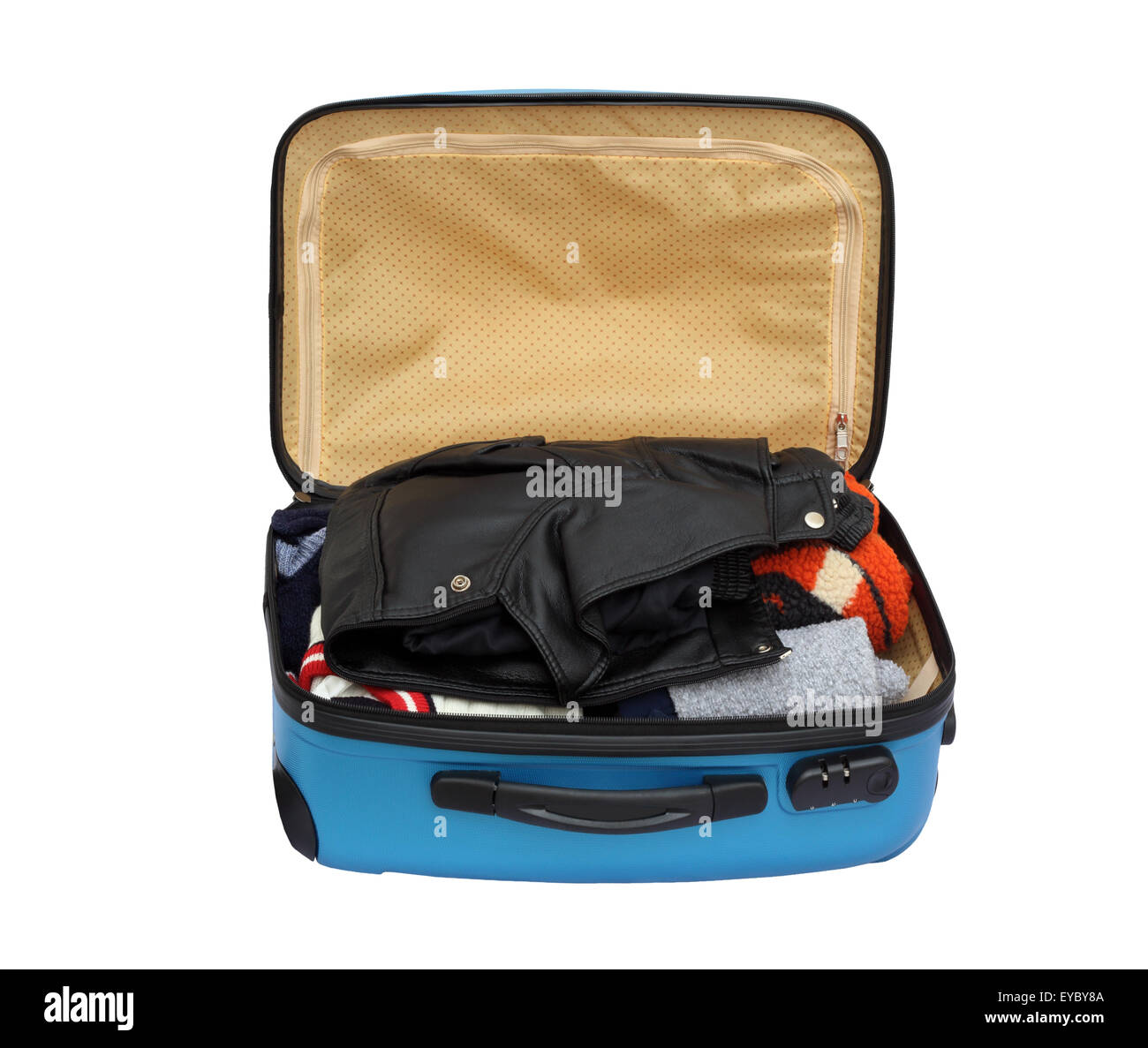 df1a20225c8 Open Suitcase Packed With Warm Clothing on White Background Stock ...