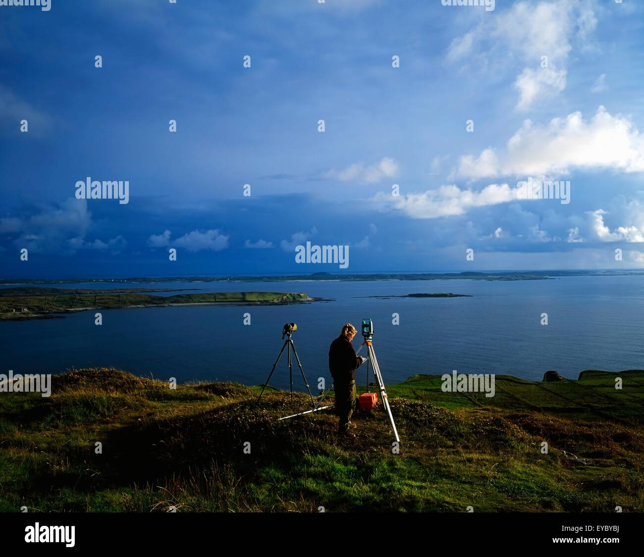 Surveying For Mapmaking, Sky Road, Connemara, Co Galway, Ireland - Stock Image