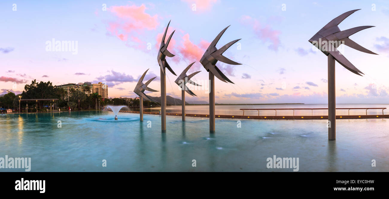 Cairns Lagoon and Esplanade at sunrise. Queensland, Australia - Stock Image
