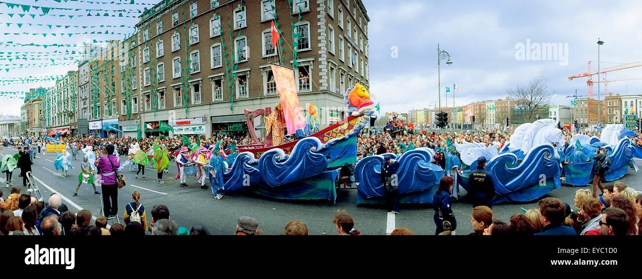 St Patrick's Day Parade, Bord Na Gaeilge, Ireland; Floats In A Parade - Stock Image
