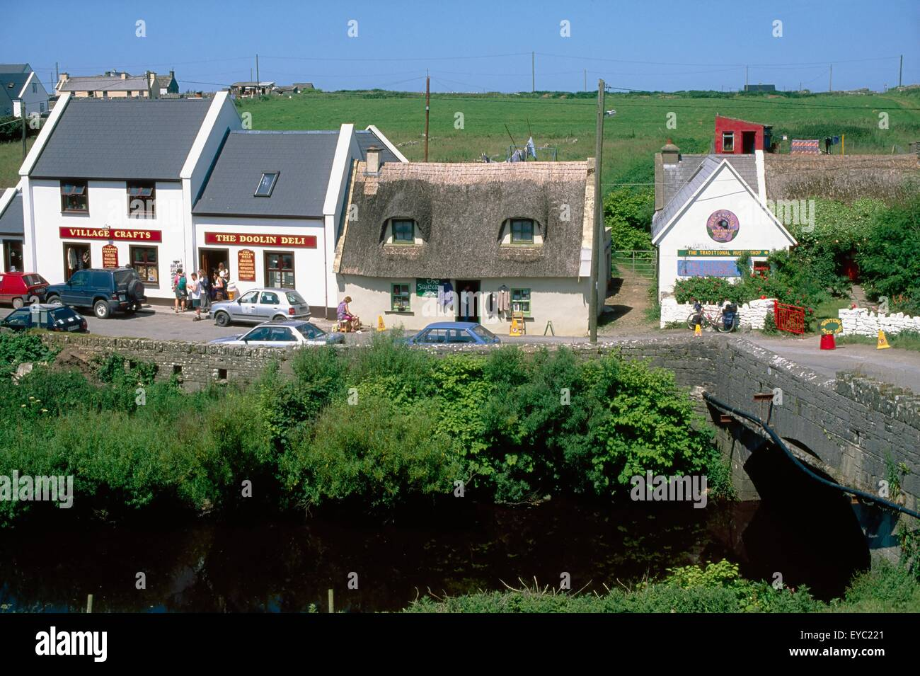 Fisher Street, Doolin, Co Clare, Ireland; Shops In A Town - Stock Image