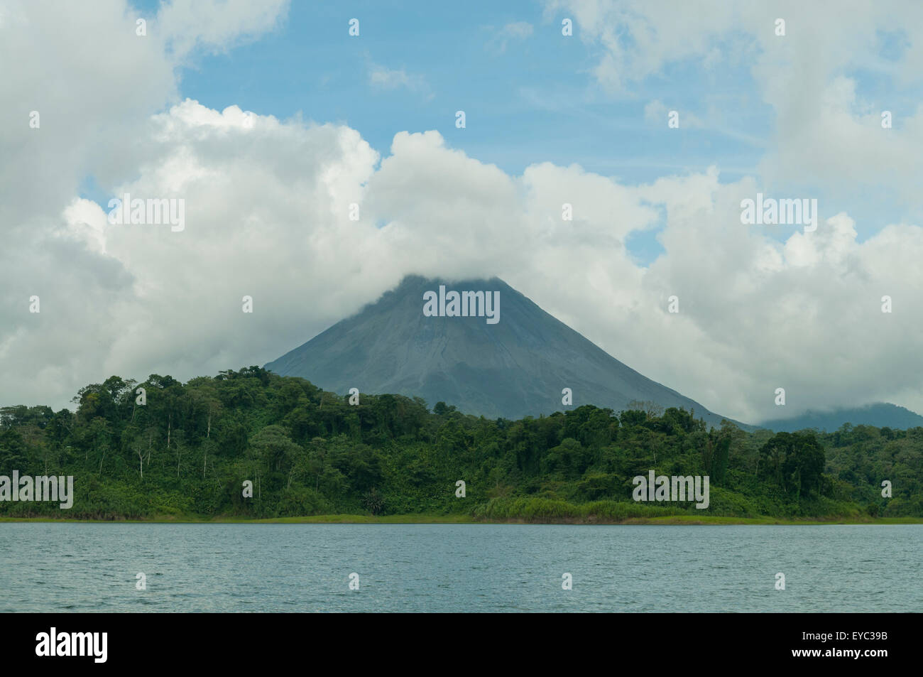 Arenal Volcano from Lake Arenal, Costa Rica - Stock Image