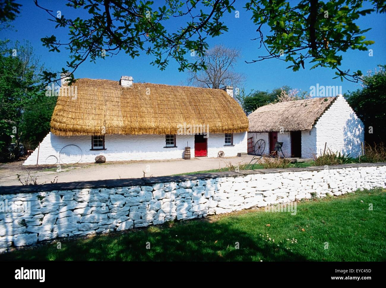 Bunratty Folk Park, Co Clare, Ireland; Cottages In A Folk Park Stock Photo