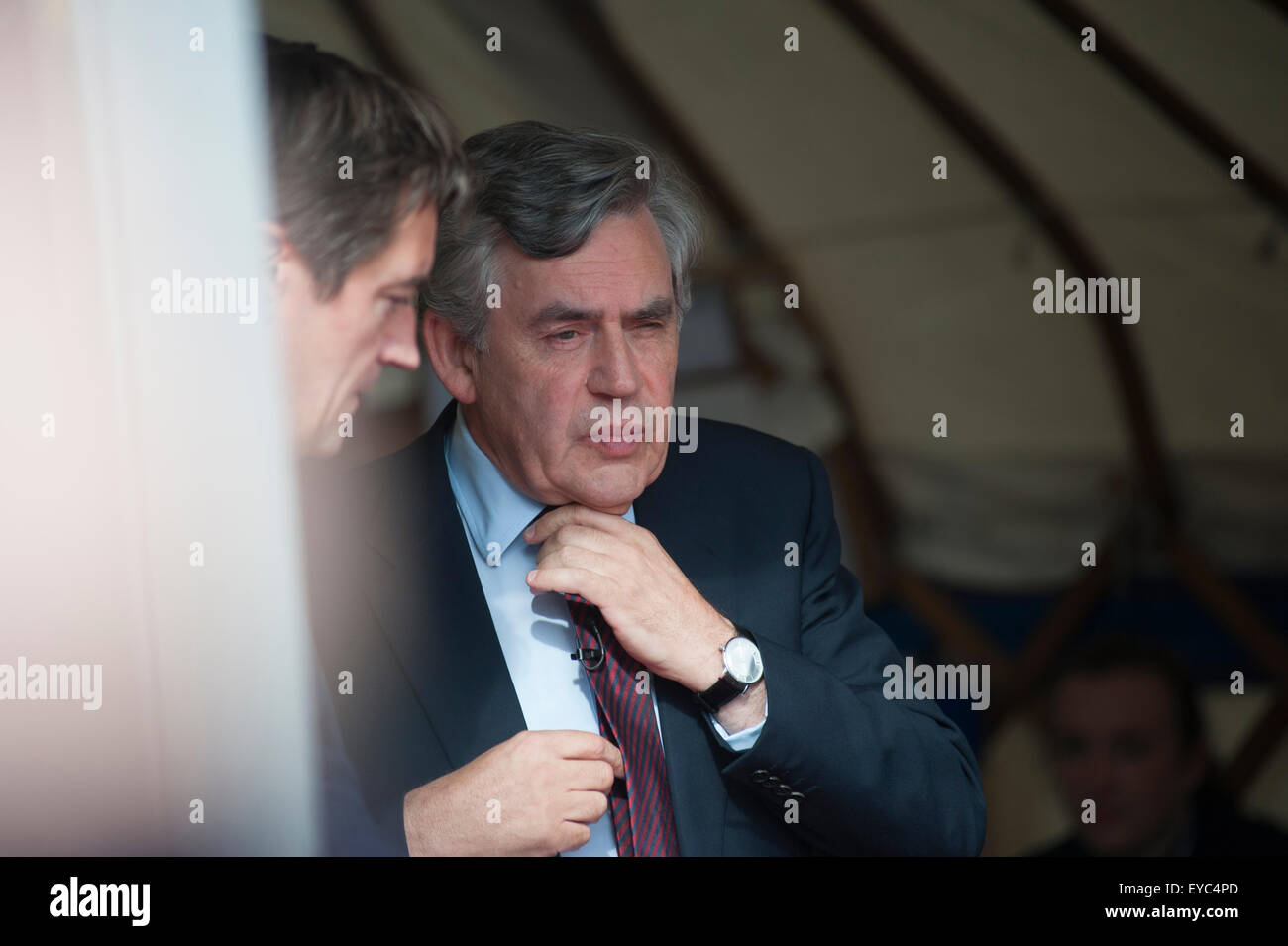 Former British Prime Minister, Gordon Brown, appearing at the Edinburgh International Book Festival. - Stock Image