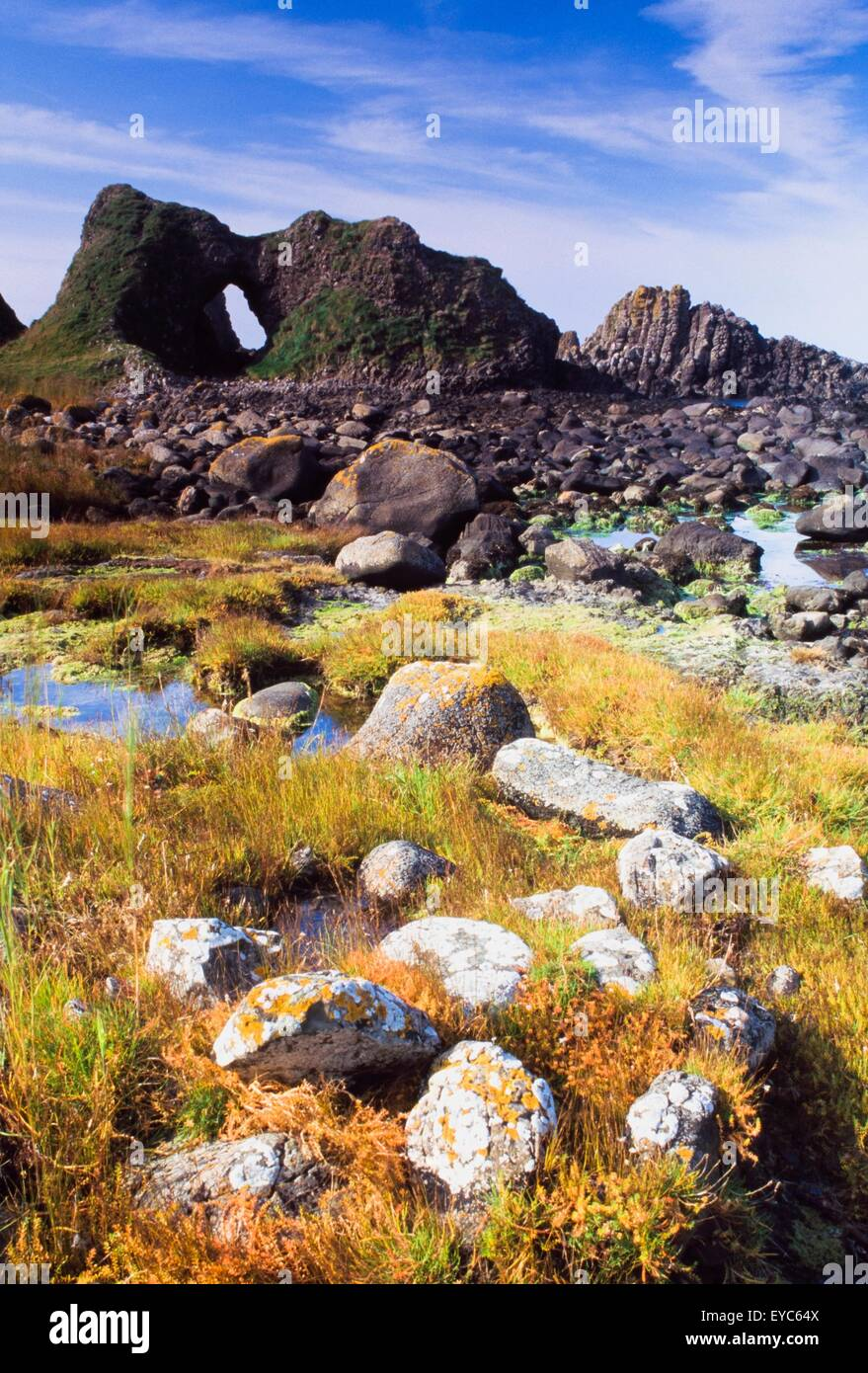 Ballintoy, County Antrim, Ireland; Rocky Beach Scenic With Cliff - Stock Image