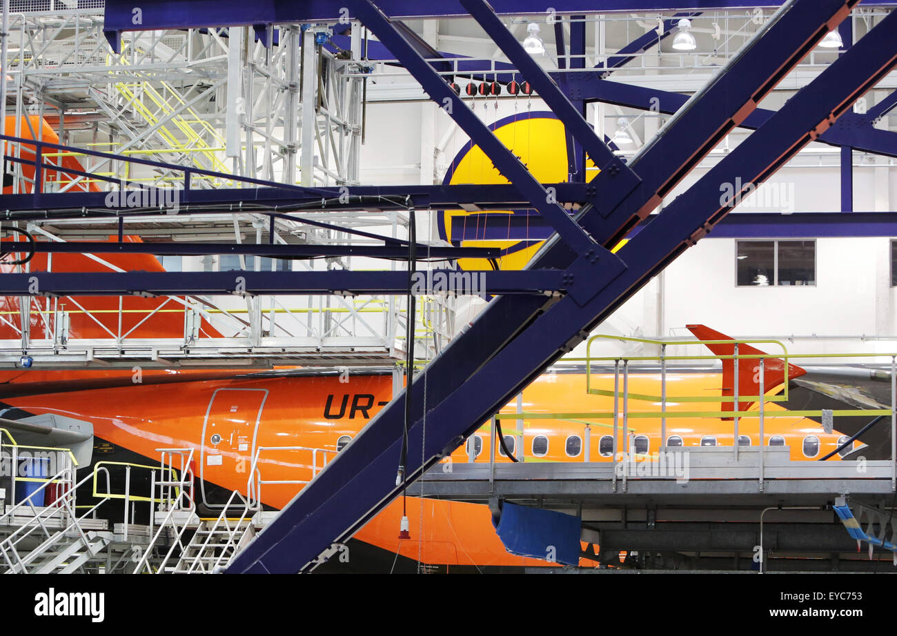 Sofia, Bulgaria - October 28, 2012: A Lufthansa airplane is being repaired in Sofia's Lufthansa Technik Hangar - Stock Image