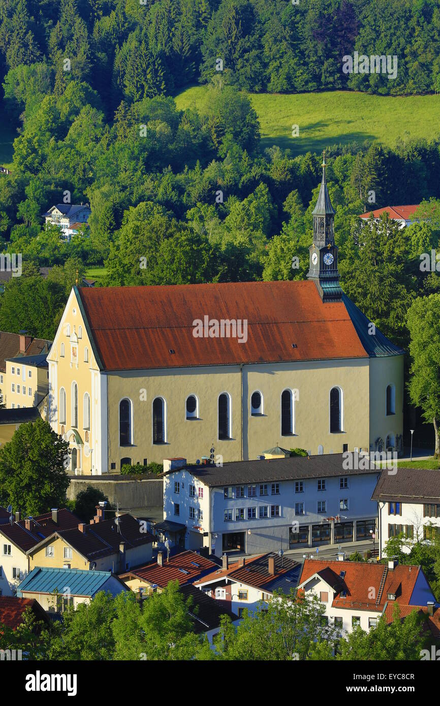 Holy Trinity Church, view from the Calvary, Bad Tölz, Upper Bavaria, Bavaria, Germany - Stock Image