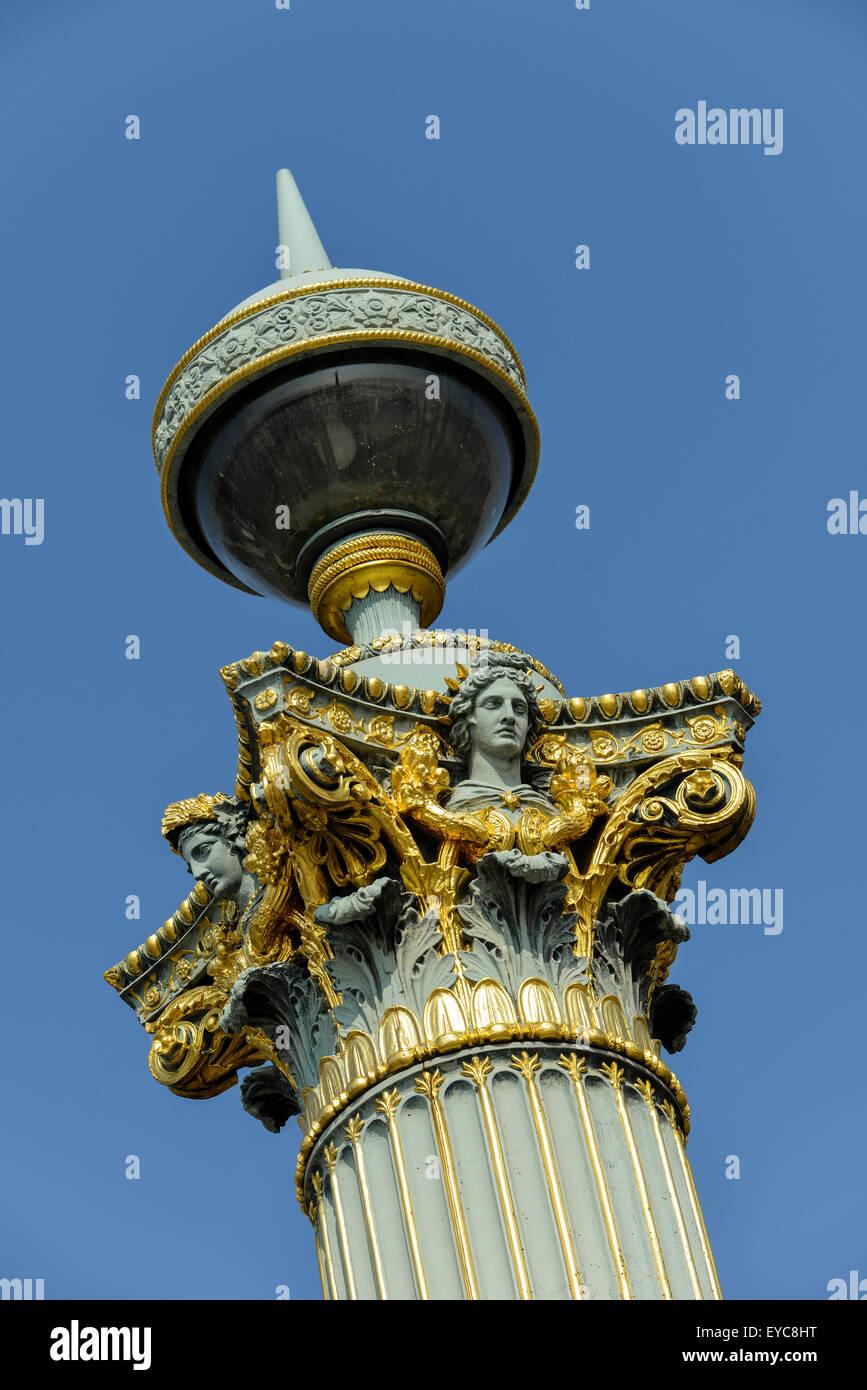 Streetlamp, detail, Place de la Concorde, Paris, France - Stock Image