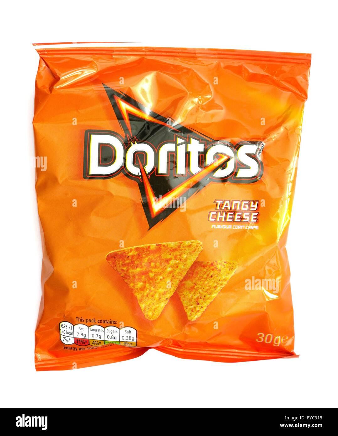 A bag of tangy cheese doritos - Stock Image
