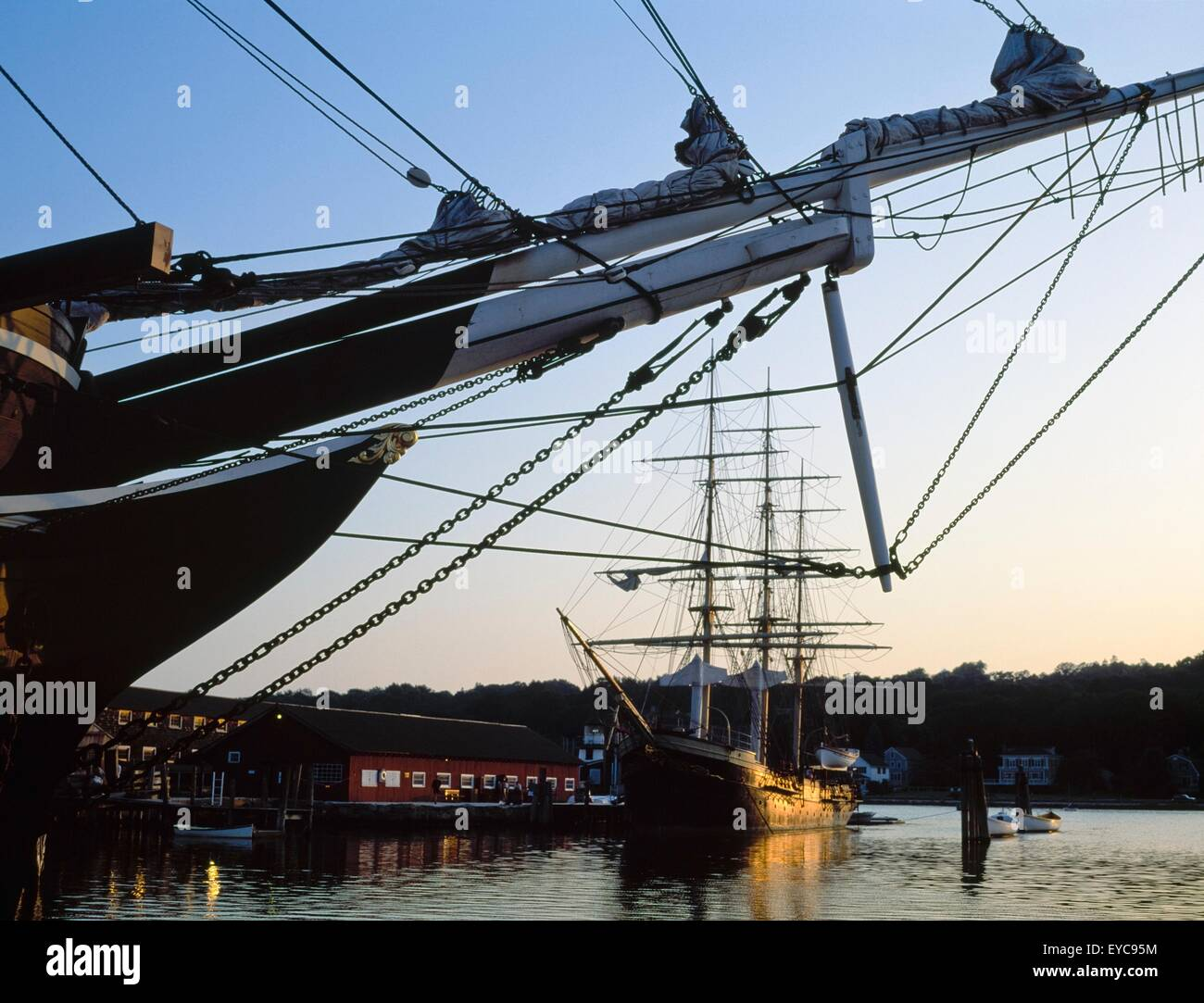 Tall Ships; Bow Of A Ship With Another Tall Ship In The Distance - Stock Image