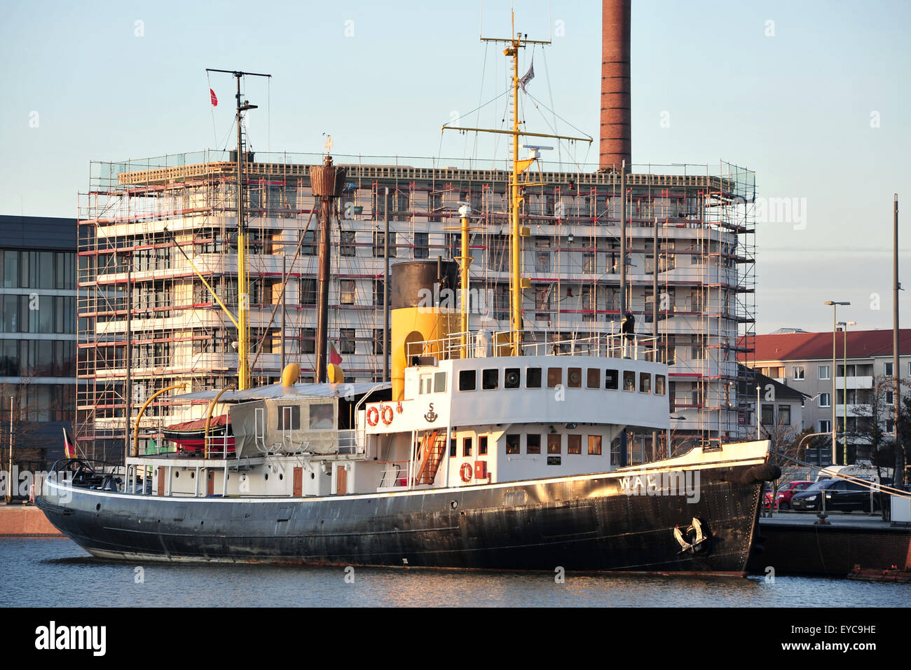 Bremerhaven, Germany, Museum Ship Dampfeisbrecher Whale in the Old Port Stock Photo