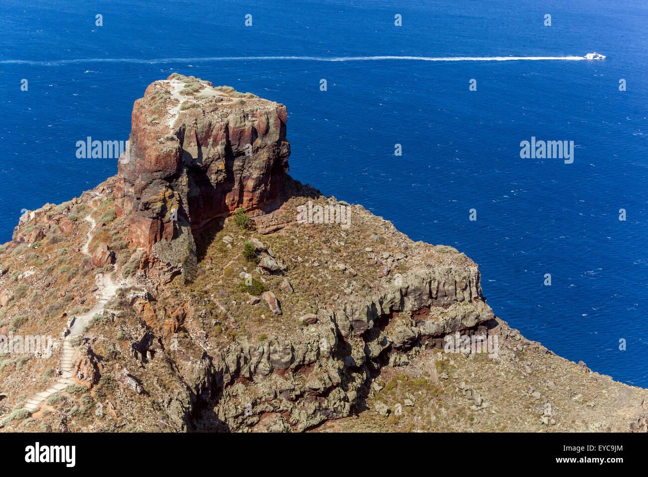 The volcanic rock of Skaros Imerovigli Santorini Cyclades Greece - Stock Image