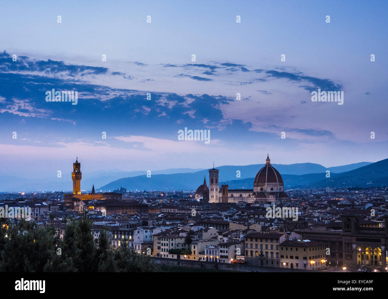 Florence Cathedral at night. Florence, Italy. - Stock Image