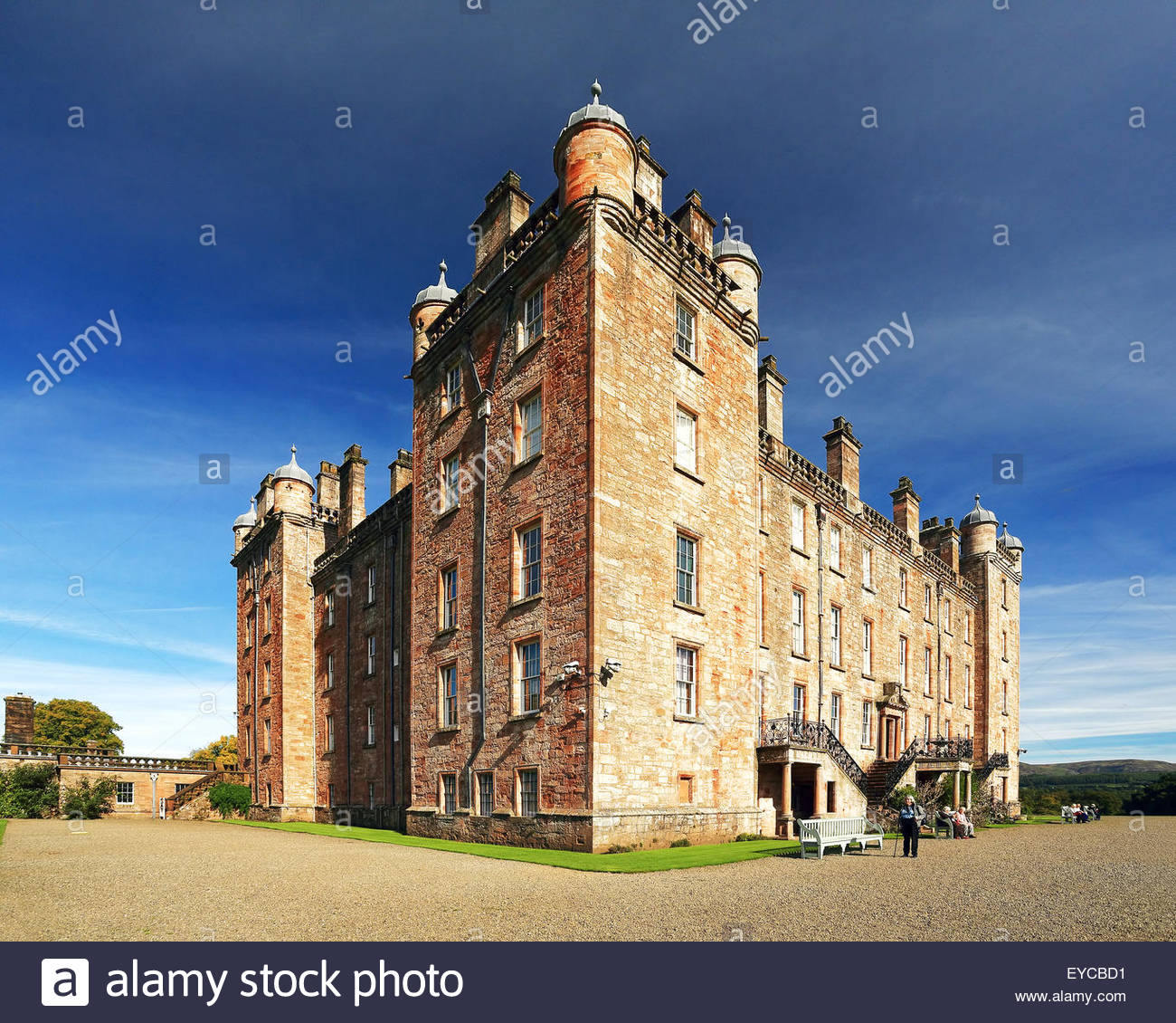 Drumlanrig Castle on a sunny day. Dumfrieshire, Scotland. - Stock Image