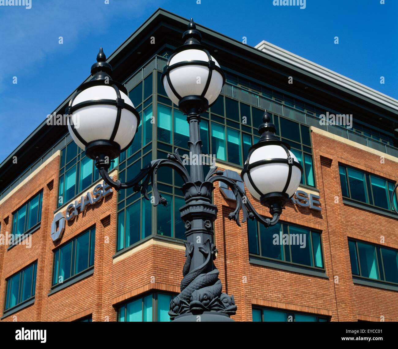 Dublin,Co Dublin,Ireland;Ornate Streetlight In The International Financial Services Centre - Stock Image